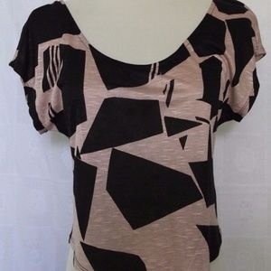 Sweet Claire Taupe/Black Blouse Top Shirt S
